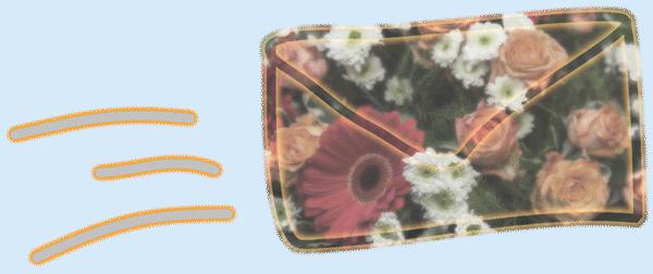 Newsletter Briefumschlag mit Blumenstrauß als Collage