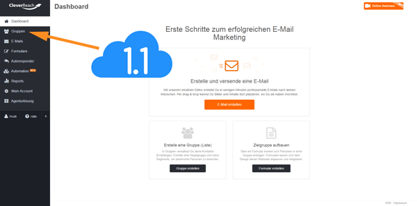 Dasboard von CleverReach, E-Mail Marketing Software, Screenshot