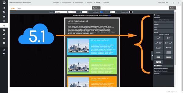 Screenshot von Menü Inhalt mit E-Mail Template, einer Designvorlage zum Anpassen, CleverReach