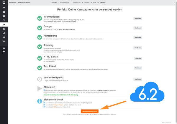 Screenshot eines Kontrollfensters zur Freigabe einer versandbereiten E-Mail bei CleverReach Autoresponder