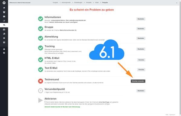Freigabe zum Testversand einer E-Mail von CleverReach als Vorschau, E-Mail Marketing Kampagne