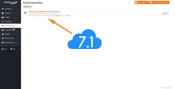 CleverReach Autoresponder einrichten ist beendet, Screenshot zeigt finales Ergebnis